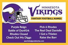 Minnesota Vikings Fantasy Football Team Names: Kirk Cousins, Diggs, Thielen and more. Cool Fantasy Football Names, Fantasy Football League Names, Football Players Names, Football Icon, Battle Of Dunkirk, Fantasy Names, Feel Good Stories, Purple Reign, Minnesota Vikings