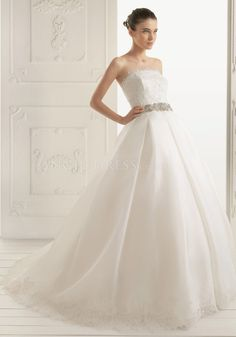 Ball Gown Strapless Organza & Lace Floor Length Court Train Wedding Dress With Sash/ Ribbon