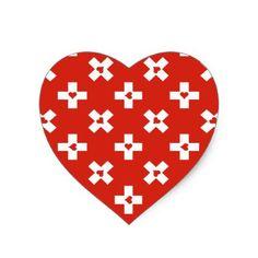 Switzerland Flag with  Heart pattern Heart Sticker - modern gifts cyo gift ideas personalize