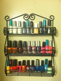 Neat idea to use a spice rack to hold your nailpolish. my sister has TONS of nailpolish, almost covering her desk so I think this is a great idea!