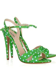 Miu Miu.    (KO) Cute for Summer:  white cropped pants, solid or polka dotted tee in same green color, these shoes and a white bag! Stylin'!