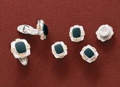 """Zia - Silver and gold cufflinks and studs with onyx  3/4"""" x 11/16"""" &  5/8"""" by 9/16"""""""