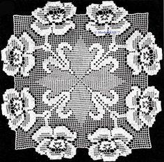 Вязание крючком - филейная техника -розы для салфеток, воротников и манишек. Обсуждение на LiveInternet - Российский Сервис Онлайн-Дневников