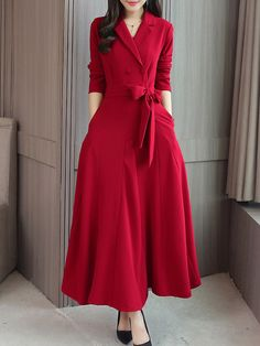 Fold-Over Collar Double Breasted Patch Pocket Plain Maxi Dress - Ninacloak.com