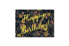 HAPPY BIRTHDAY flowers - www.allthewaystos... - Illustrated cards, notebooks, Calendar & notepads