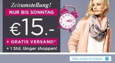 Zeitumstellung! NUR BIS SONNTAG! €15.- Gutschein + GRATIS VERSAND + 1 Std. länger shoppen!*