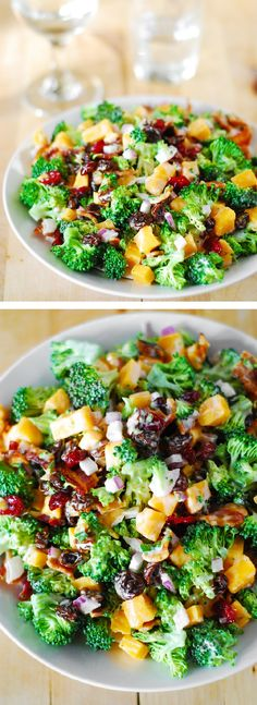 Broccoli salad with bacon, raisins, and cheddar cheese: comfort food and it's gluten free! JuliasAlbum.com  #vegetables #greens #appetizer_recipes