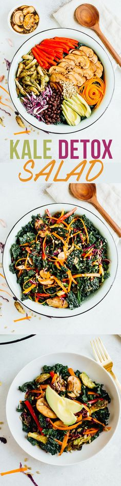 This kale detox salad is super nourishing without skimping on flavor. You'll love the combo of crunchy raw vegetables, marinated mushrooms and roasted Brussels sprouts tossed in a light balsamic dressing.