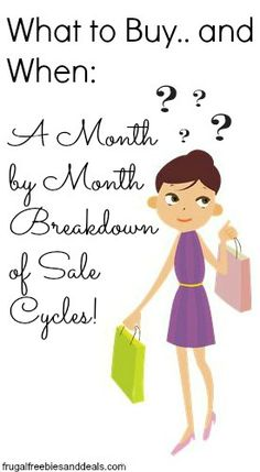 What to Buy. and When: A Month by Month Breakdown of Sale Cycles What to Buy. and When: A Month by Month Breakdown of Sale Cycles! Ways To Save Money, Money Tips, Money Saving Tips, How To Make Money, Money Hacks, Mo Money, Planning Budget, Sample Budget, Monthly Budget