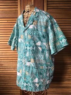 4405f491 Items similar to Vintage Paradise Style Mens Hawaiian Shirt, Aloha Shirt,  Hawaiian Fish & Tiki Man Print Shirt, Tiki Bar Attire, Cruise Ship Wear Sz  M ...
