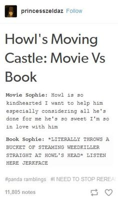 Howl's Moving Castle movie vs book << Sounds like I need to read the book!