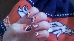 Denver Broncos nails Denver Broncos Nails, Denver Broncos Football, Beauty Nails, Nail Ideas, Nfl, Nail Designs, Nail Polish, Nail Art, Nail Arts