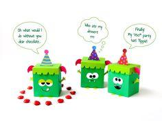 DIY monster favor box - Set of 3 green monsters, halloween decor monster birthday Printable party favor box, Printable template girl monster