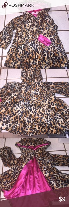 Epic fuzzy adorableness Girls fuzzy leopard coat with fuchsia satin lining. It's a show stopper folks! Jackets & Coats