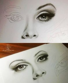 Eyes, nose and lips pencil drawing tutorial.