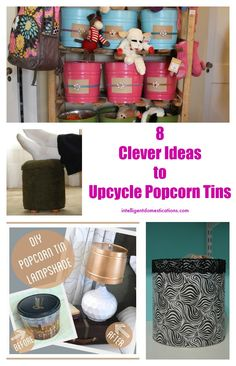 Do you have a half eaten popcorn tin remaining from the holiday season? Don't you just hate to throw them away. Here are 8 Clever Ideas to Upcycle Popcorn Tins! Upcycled Home Decor, Upcycled Crafts, Handmade Crafts, Diy And Crafts, Crafts For Kids, Repurposed Items, Upcycled Furniture, Holiday Popcorn Tins, Make A Lampshade