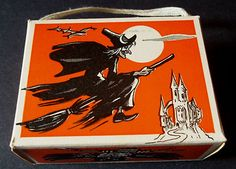 1940s hard cardboard candy box Vintage Witch, Vintage Halloween, Halloween Stuff, Happy Halloween, Flying Witch, Candy Boxes, Goblin, Ephemera, 1940s