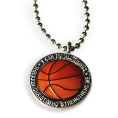 Phil 4:13 Basketball Necklace