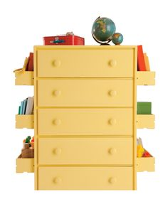 Create with crates a double-duty dresser with storage space to spare. To fashion the ultra-original organizational center, paint spare crates and the chosen dresser in a single monochrome hue and attach crates symmetrically along the sides of the dresser, securing with nuts and bolts.