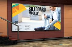 An angled shot of the subway billboard mockup | 11 Outdoor mockup PSDs For Advertising by ZippyPixels #mockup #mockups #mocks #PSD #advertisement #advertising # outdoor #bus #billboard #bus stop #subway #advertising design #customizable #photorealistic