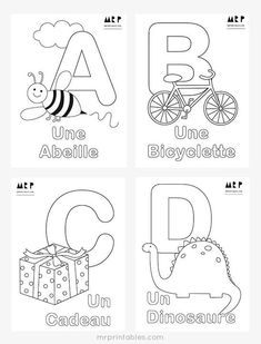 Printable Alphabet Coloring Pages Collection. Well, what do you think about alphabet coloring pages? Before recognizing it more, let's check what alphabet is! Alphabet A, Alphabet Poster, French Alphabet, Alphabet For Kids, Alphabet Worksheets, Worksheets For Kids, Spanish Alphabet, Printable Worksheets, Learning French For Kids