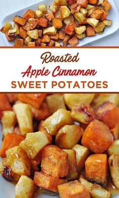 These Roasted Apple Cinnamon Sweet Potatoes combine the best flavors fall has to offer! These Roasted Apple Cinnamon Sweet Potatoes combine the best flavors fall has to offer! Sweet Potato Cinnamon, Sweet Potato And Apple, Apple Cinnamon, Sweet Potato Side Dish, Sweet Potato Snack, Potato And Apple Recipe, Cinnamon Bananas, Potato Food, Cinnamon Butter