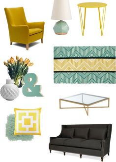 Seafoam & Yellow color combo via The Blissful Bee maybe not the yellow armchair but a happy color combo :)