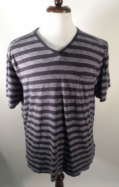 Mens Size XL French Connection Pocket T Shirt, Stretch Limo Heather Gray Stripe