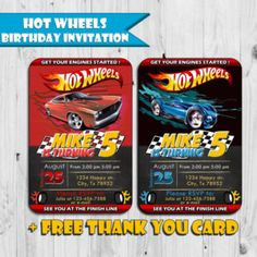 Hot Wheels Inspired Birthday Invitation - Free Thank You Card - Printable Ticket Invitation - Digital - Personalized - Fast Service