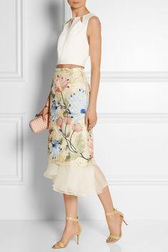 Biyan - Mirea embroidered brocade and silk-organza midi skirt Batik Fashion, Floral Fashion, Skirt Fashion, Fashion Design, Brocade Dresses, Mein Style, Silk Organza, Organza Dress, Batik Dress