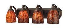 ELK Lighting 570-4B-Es Four Light Vanity In Aged Bronze And Espresso Glass