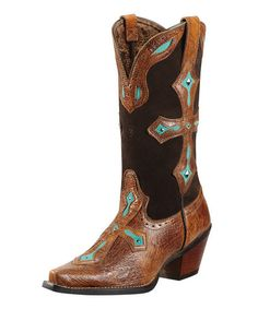 Tawny Brown & Turquoise Heavenly Cowboy Boot - Women by Ariat on #zulily today!