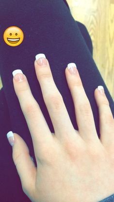Cute acrylic French tip nails!
