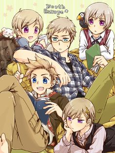 Hetalia Nordic countries: Finland, Sweden, Iceland, Denmark, and Norway <3 ←北欧ファイブ大好き♡