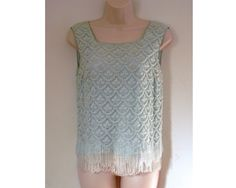 Mad Men Lace Beads and Sequins Evening Top Baby Blue with Fringe  Regalia.