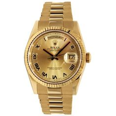 208119fd17 Pre-owned Roman Numeral Rolex Day-Date Yellow Gold Presidential 36mm.