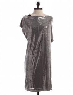 NWT Silver Sequins Shift Dress by Diane Von Furstenberg - Size 14 - $86.95 on LikeTwice.com