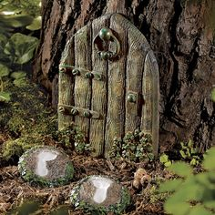 Elf Door and Path Stones Set-  Who's there? Elves, apparently! Ready to place against baseboards, on porches or outdoors.