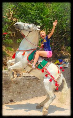 Riding a horse at the Great Wall