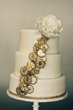 Gold coin cascade cake