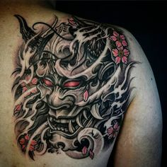 Hannya Mask & Sakura 1/4 Back. With artist: @wt_tattoo Created @chronicink _ #workproud #wearproud #pursan by @solabspurklenz #needles from @mithramfg