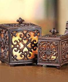 sepia wrought iron India inspired candle jars