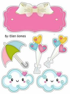 Topo de bolo chuva de amor para imprimir Girl Birthday Themes, Unicorn Birthday Parties, Unicorn Party, Birthday Party Decorations, Hot Air Balloon Clipart, Sunshine Baby Showers, Kitten Cartoon, Minnie Mouse Pink, Kids Room Wall Art