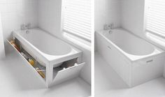 bathtub storage system Gonna build this to match the bathroom. I HATE all the shampoo and conditioner around the tub.