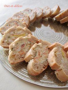 Baguette farcie à la truite fumée et au surimi : Diet & Délices - Recettes dietétiques Taco Pizza, Parmesan, Tapas, Shrimp, Party, Sweets, Snacks, Meat, Cooking