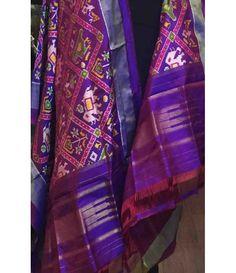 Purple Pure Handloom Double Ikkat Patola Silk Dupatta