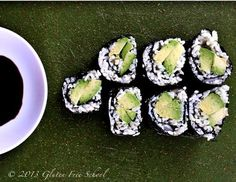 Gluten-Free Avocado Sushi - Powered by Gluten Free School Gluten Free Sushi, Vegan Gluten Free, Dairy Free, Paleo, Gf Recipes, Gluten Free Recipes, Healthy Recipes, Clean Eating Recipes, Healthy Eating