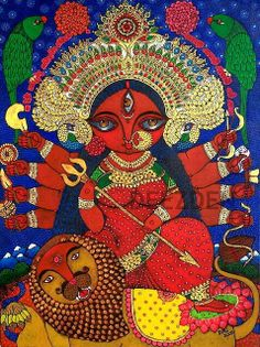 Goddess Durga Printed Artwork on Canvas Madhubani Art, Madhubani Painting, Durga Painting, Kalamkari Painting, Woman Painting, Durga Maa, Durga Goddess, Goddess Art, Indian Folk Art