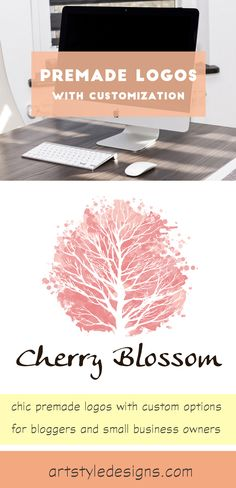 ♥ Premade logos ♥ with customization. For bloggers + small business owners. :) Cherry blossom sakura tree watercolor premade logo.