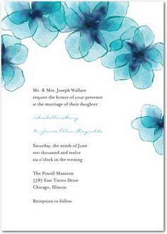 Aqua wedding invite.